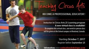 Sign Up for the Instructor in Circus Arts E-learning Program Offered by École Nationale de Cirque
