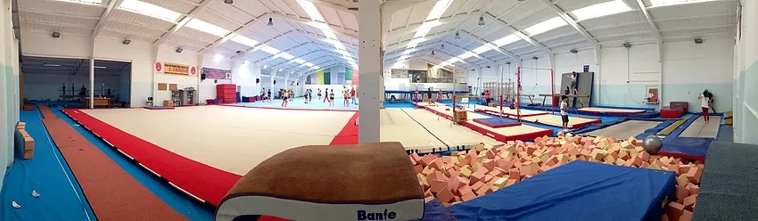 Fish eye lens view of a circus training space