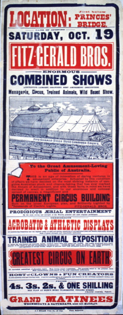 Vintage Australian circus poster Fitzgerald Bros.
