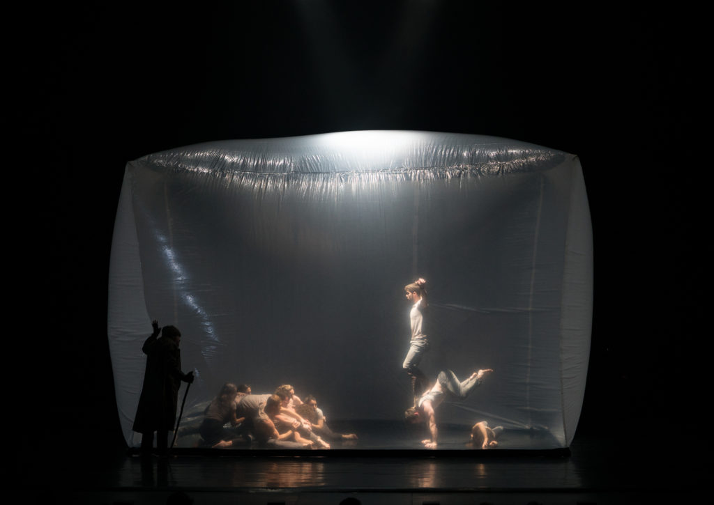 Circus performance in a plastic bubble