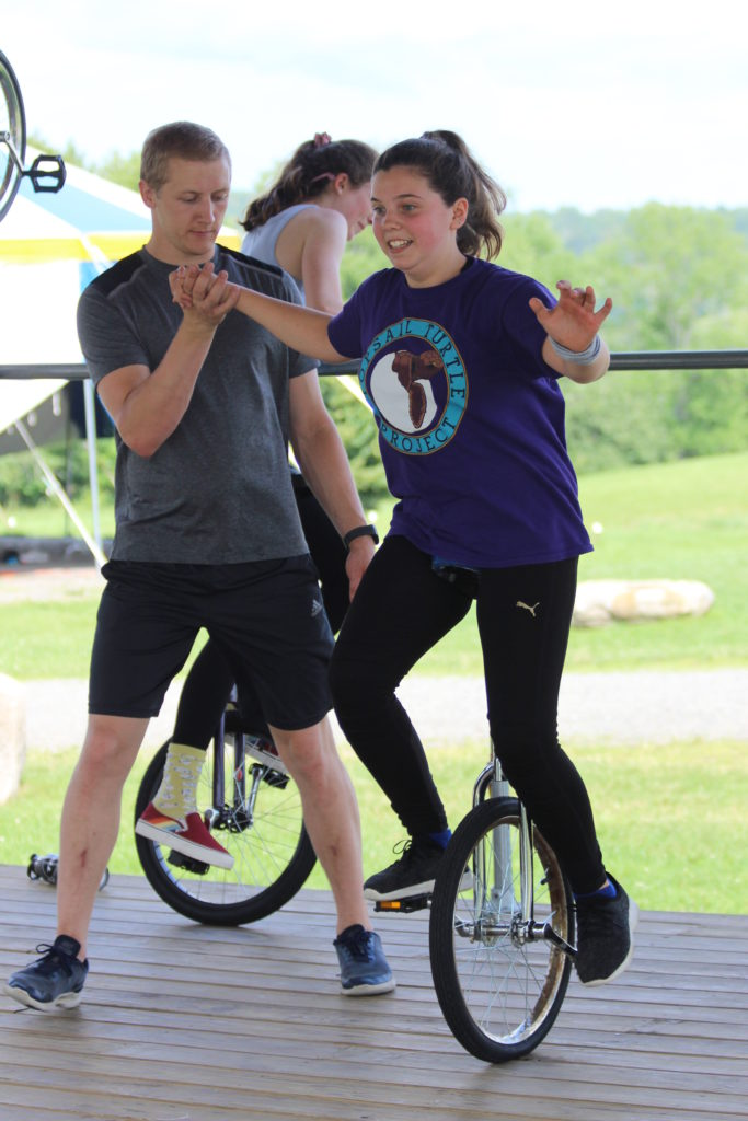 Unicycler and instructor at Camp Circus Smirkus