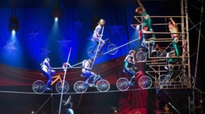 High Wire Bicycle Act Falls Off the Wire in Stuttgart