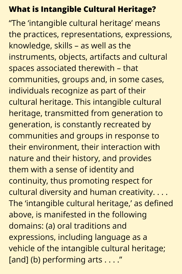 intangible cultural heritage explained