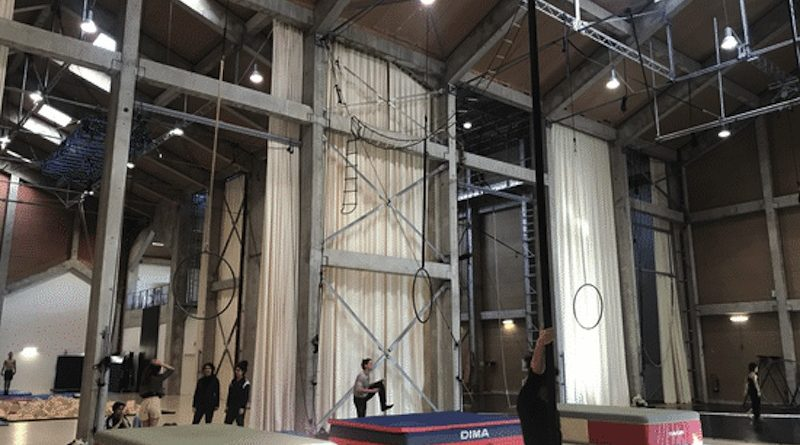 A training room with aerial silks hanging.