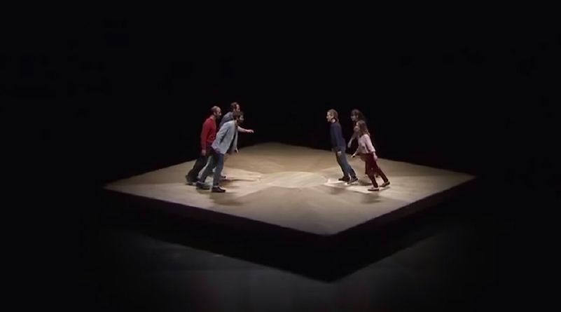 Affected by a Central Force, Dancers Perform Implausible Bends on a Perpetually Spinning Stage