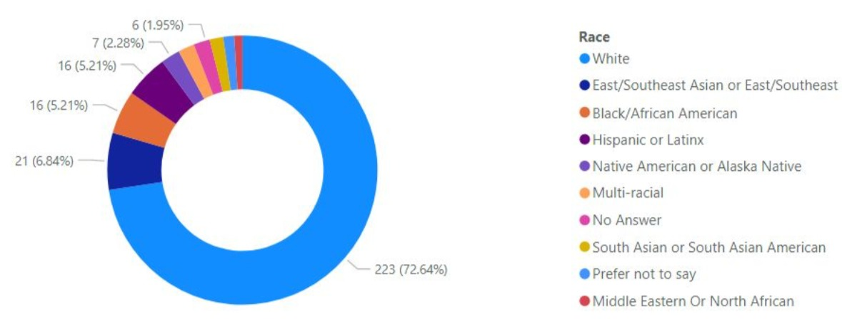 Figure 2: Self Reported Race: A circular graph showing the majority of the respondents to the survey identify as white.