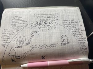 A map drawn on graph paper in a notebook depicting the location of places in a fairytale about a woodcutter who wanted to cheat death