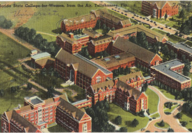 Arial view of Florida State College for Women--in a painting