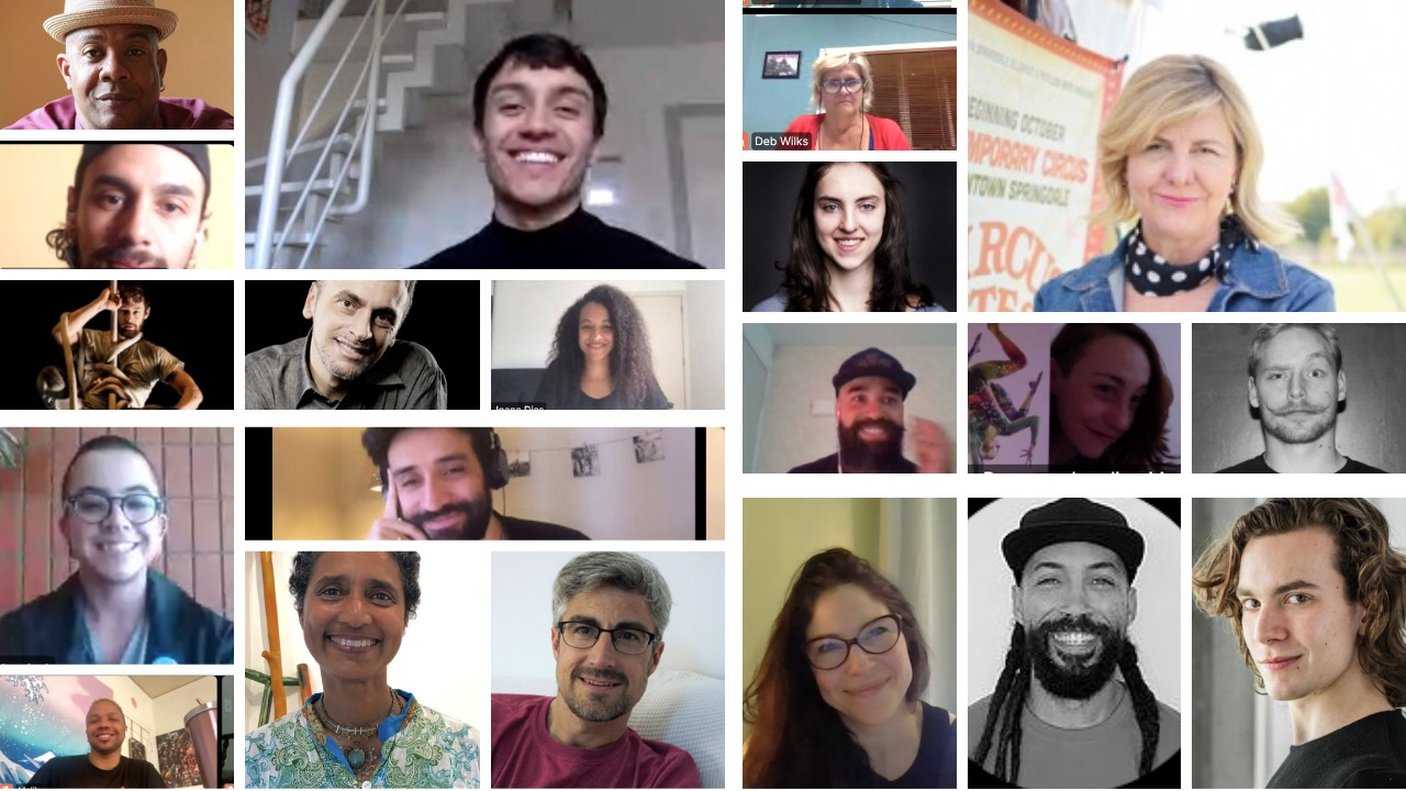 A collage photo of the panelists for Circus & Changing Realities 2020, image 6 shows many bio photos