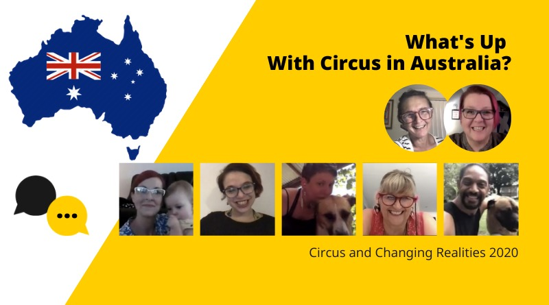 Pictured are panelists from Circus and Changing Realities 2020-What's Up with Circus in Australia? and a map of Australia