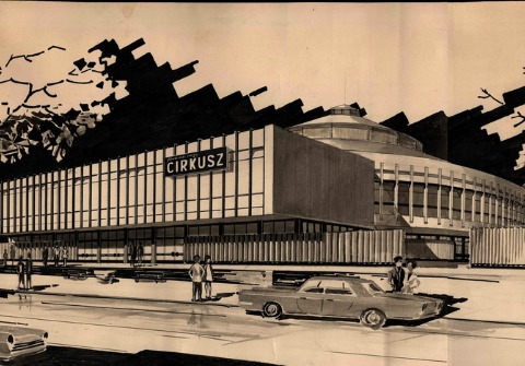 A drawing depicting the new circus building