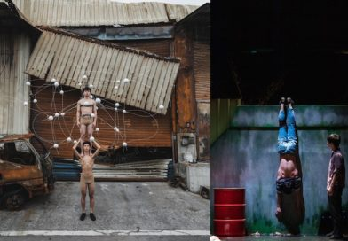 On the left circus performers perform a two high, on the right, a hand stand