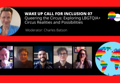 A black and red graphic depicting the panelists of this episode of Wake Up Call for Inclusion