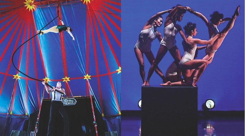 A group of acrobats perform dramatic feats of handbalancing