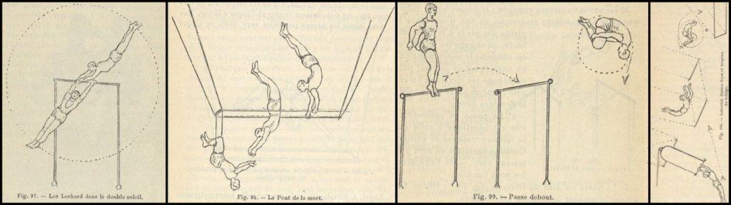 Drawn illustrations of circus acrobatic tricks
