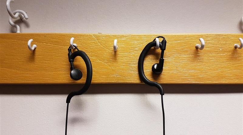 Earpieces hanging up