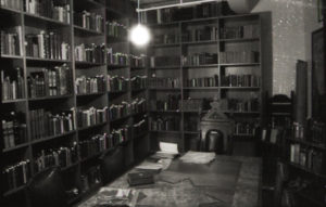 A black and white photo of a library
