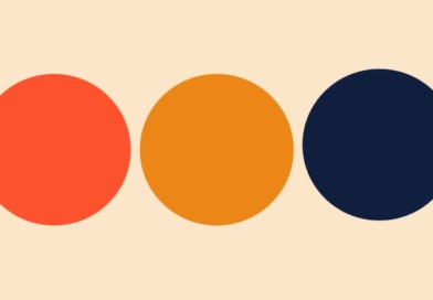 Three circles lined up: one orange, one yellow, one blue