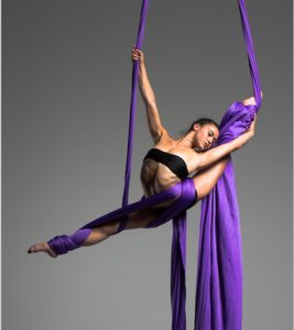 Silvia Dopazo performs a deep overspilt on a pair of purple aerial silks against a gray backdrop