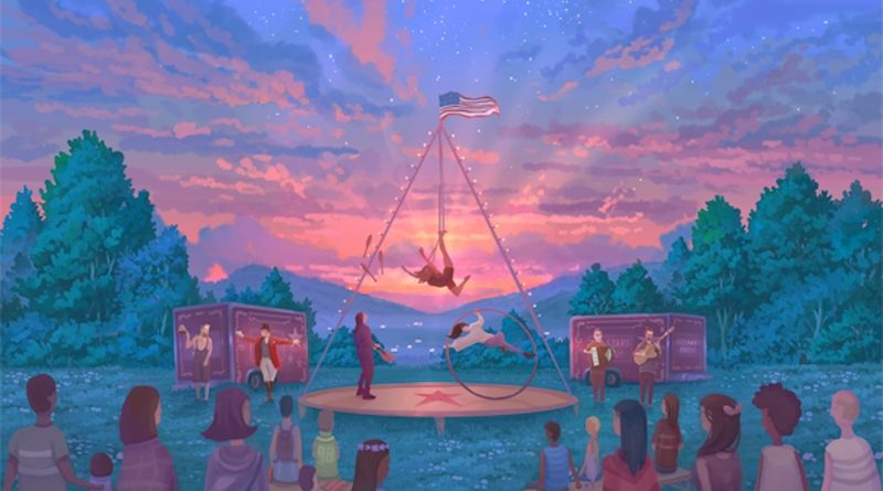 Graphic image depicting a beautiful outdoor Lyra act