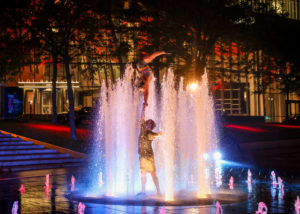 A statue in a fountain