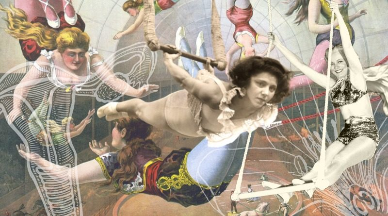 Flying trapeze graphic that blends images of circus artists and uteruses