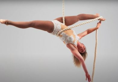 Louise Clark performs an upside down split on aerial rope