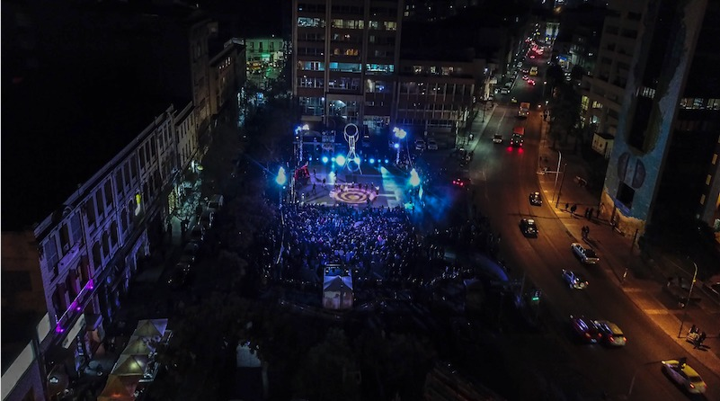 Aerial view of a street at night