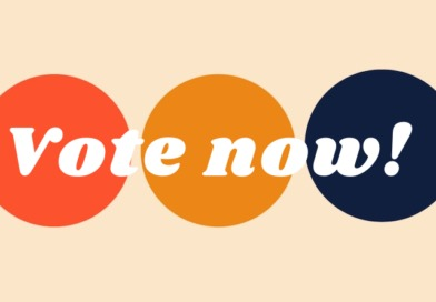 An orange, yellow, and blue graphic urges readers: vote now!