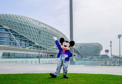 Mickey Mouse, posed outside of Etihad Arena in Abu Dhabi