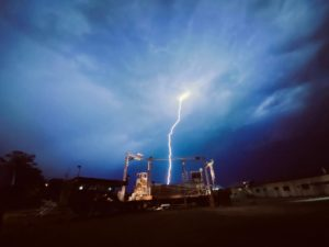 A flash of lightning strikes the WeLAND stage
