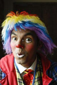 As his clown alter-ego Payaso Coco, Udai Olivares makes a face